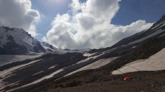 View from the base camp. Kazbek summit expedition. Georgia, August 2016.