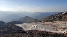 Base camp views Kazbek summit expedition. Georgia, August 2016.