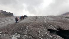 The very edge of the Kolka glacier. Kazbek summit expedition. Georgia, August 2016.