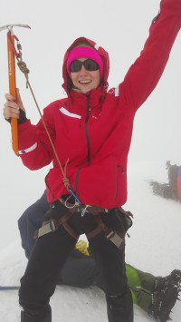 The summit of Mount Kazbek at 5033 m. (Yes, that axe is way too short!)