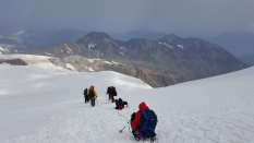 Roping up for the white glacier descent.
