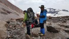 Navigating the dark glacier.