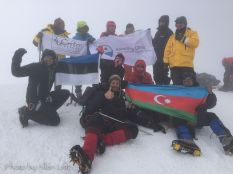 Our group on the summit of Mount Kazbek.